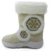 Обувь валяная Кукморская с отделкой из искусственного меха на формованной подошве
