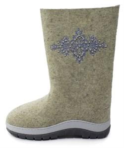 """Обувь валяная """"Кукморские"""" с вышивкой с отделкой бисером на формованной подошве - фото 8791"""
