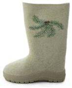 Обувь валяная с вышивкой на формованной подошве